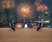 Fireworks focused in glasses lenses