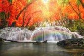 Beautiful waterfall with rainbow