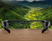 Landscape focused in glasses lenses