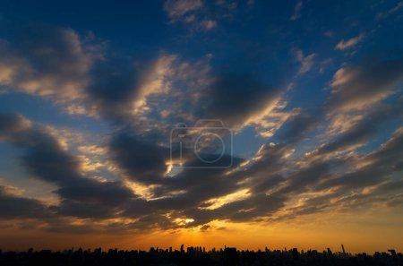 Fantastic sky over the cityscape