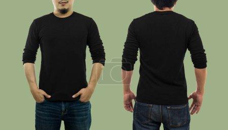 guy wearing blank crew neck long t-shirt