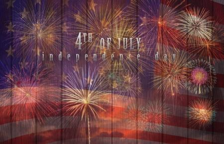 Photo for Multicolor Fireworks Celebrate over the United state of America USA flag on the wooden background, Independence day concept - Royalty Free Image