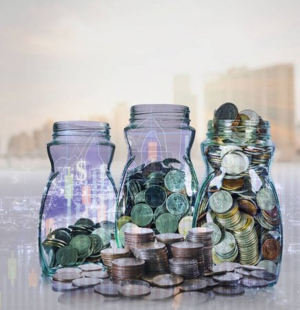coins in glass jars