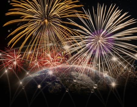 Multicolor Firework over Part of earth