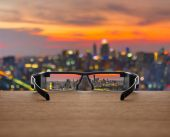 Cityscape focused in glasses
