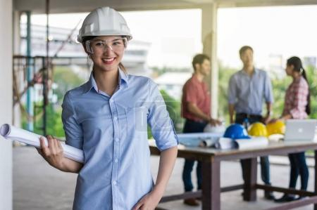 Happy professional construction engineer woman