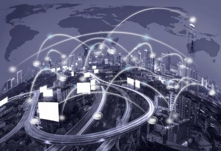 Network connection line between buildings
