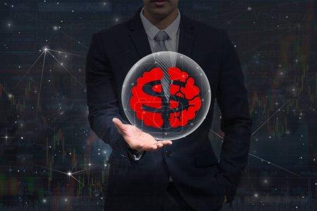 Businessman hand holding the dollar symbol