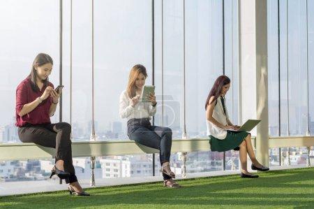 Women using social network