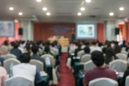 Abstract blurred photo of conference hall