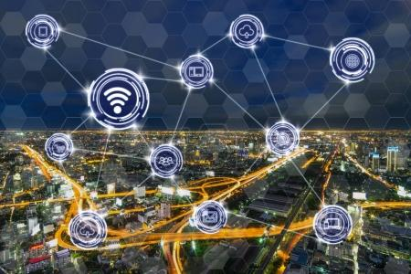Photo for Wireless communication connecting of smart city Internet of Things Technology over the Expressways with bangkok cityscape at twilight time background, technology business IOT concept - Royalty Free Image