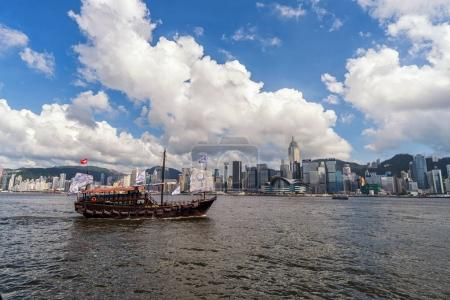 Scene of Hong Kong skyline with boat