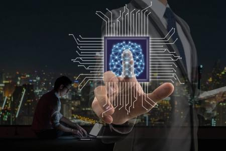 Businessman pointing the Artificial intelligence