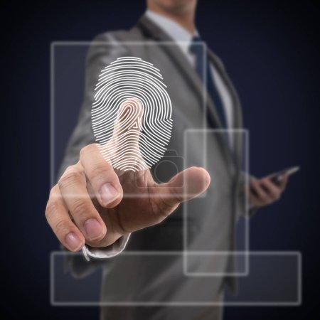 Businessman Fingerprint scan over the dark blue background, Business Technology sceurity Concept. Square dimension frame