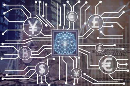 Abstract photo of FINTECH connection and Artificial intelligence of brain technology over the Stock market exchange data background,Showing the cryptocurrency or digital money,Fintech and AI concept