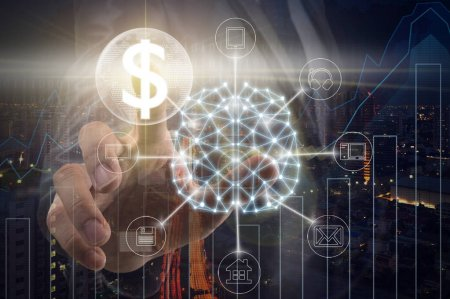 Hand of Businessman touching the global network and dollar currency text financial technology or FINTECH over the Trading graph on the cityscape background, business innovation and technology concept