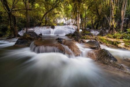 Beautiful waterfall in the deep forest,Pha Tat Waterfall, Kanchanaburi province, thailand, Nature travel concept