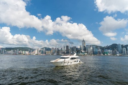 HONGKONG ,CHINA - July 09 : Scene of Hong Kong skyline with boats on the July 9, 2017 in Victoria Harbor, Hong kong