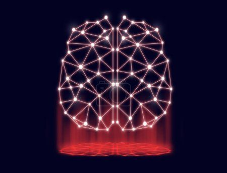 polygonal brain shape of an artificial intelligence with lines and dots and shadow over the dark blue background, business technology and network connections concept