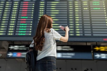 Asian woman traveler holding the passport and pointing at the flight information screen in moddern an airport, lifestyle travel and transportation concept.
