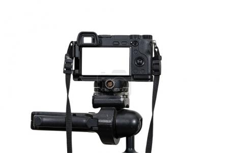 Professional digital mirrorless camera on tripod on white background, Camera for photographer or Video, Live Streaming equipment concept, include clipping path