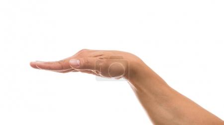 Photo for Hand gesture over white background, include clipping path - Royalty Free Image
