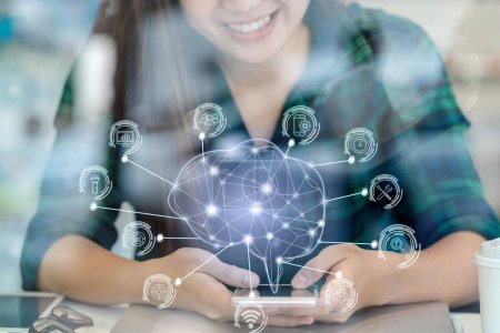 Polygonal brain shape of artificial intelligence with various icon of smart city Internet of Things Technology over Asian businesswoman hand using smart mobile phone, AI and business IOT concept