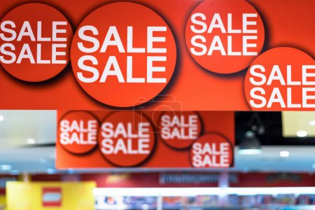 Sale advertisement in the shopping department store for shopping, business fashion and advertisement concept