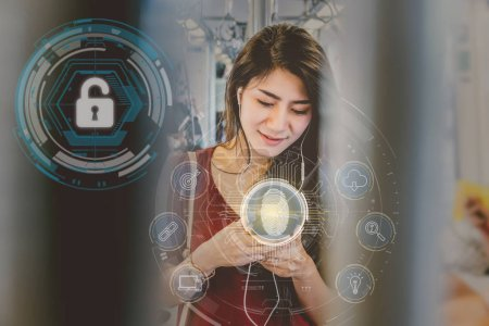 Asian woman passenger using the smart mobile phone by Fingerprint scan for support security access with biometrics identification in the Skytrain rails or subway, Business Technology sceurity Concept.