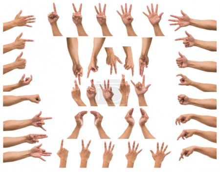 Photo for Various hands gestures over white background, include clipping path - Royalty Free Image