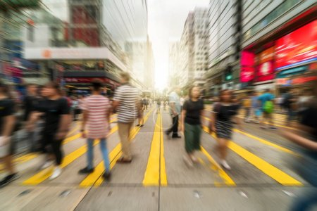 Photo for Blurred Crowd of unrecognizable people and traveler walking on yellow Zebra crossing in rush hour working day or holiday, blur business and people, lifestyle and leisure concept, - Royalty Free Image