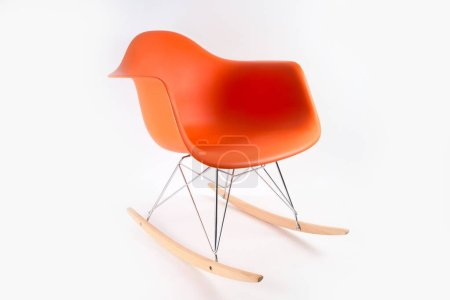 Photo for An orange rocking chair isolated on a white background - Royalty Free Image