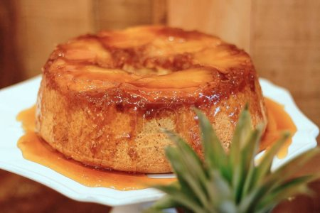 Photo for A closeup shot of a delicious flan cake with jam - perfect for a food blog - Royalty Free Image