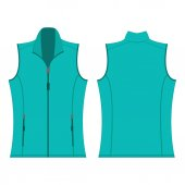 turquoise color autumn fleece vest isolated vector on the white background