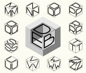 Set of template with letters inscribed in three sides of cube hexagon To create monograms logos and emblems