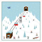 Cool pastel Cartoon ski poster
