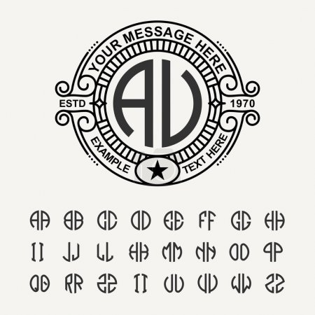 Modern emblem, badge, monogram template.