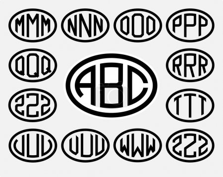 capital letters inscribed in a oval.