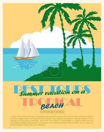 Retro seaside view  advertising poster