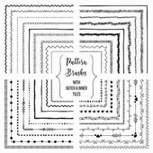 Flexible color adjustable easy to reshape and resize seamless pattern brushes collection With outer and inner tiles corners Vector Illustration Hand-drawn Doodle Style