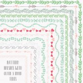 Flexible colorful easy to reshape and resize seamless pattern brushes collection With outer and inner tiles corners Vector Illustration Hand-drawn Doodle Style