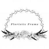 Vector Delicate Floristic Frame Flower Design Element