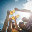 Group of young people enjoying and cheering beer o...