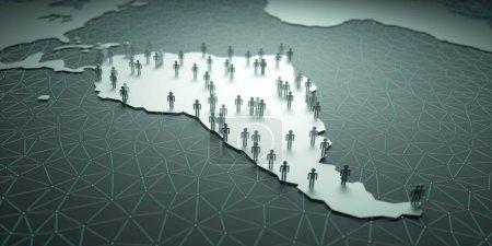 Photo pour Illustration 3D de personnes sur la carte, représentant la démographie du pays. - image libre de droit