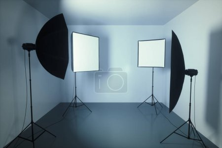 Photo pour Studio de photographie avec softbox et octobox dans la petite pièce . - image libre de droit