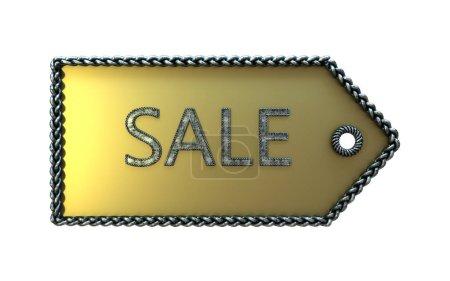 Foto de Etiqueta de venta en oro en un fondo blanco - Imagen libre de derechos