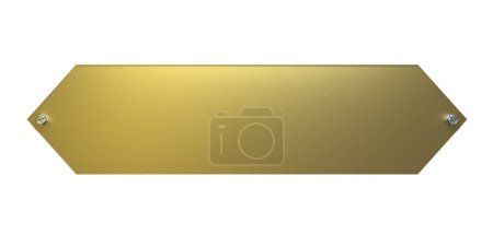 Photo for Golden metal plate on a white background - Royalty Free Image