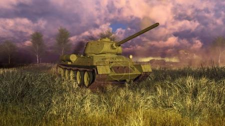 Танк Т-34 на поле битвы второй мировой войны