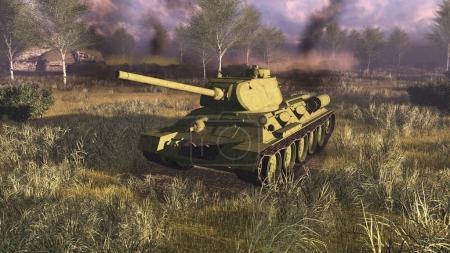 Russian main battle tank T 34 at battlefield