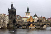 View on the winter Prague Old Town above River Vltava, Czech Republic
